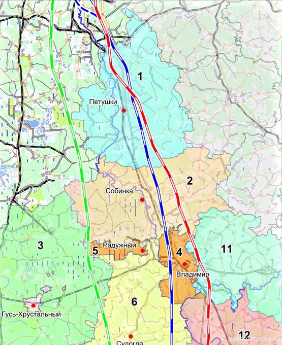 Схема вариантов трассы ВСМ-2